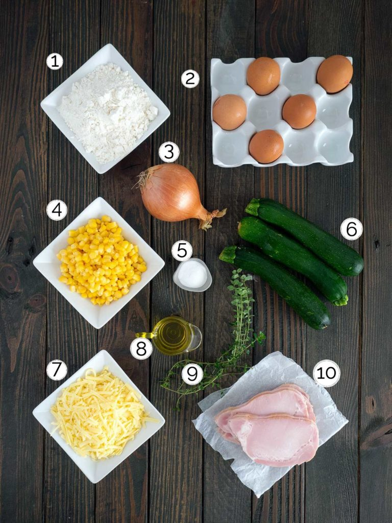 ingredients for zucchini slice