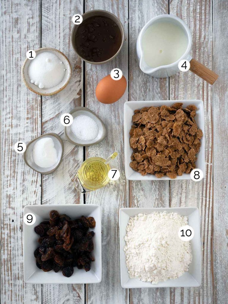 ingredients for raisin bran muffins