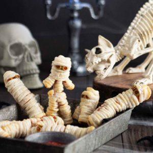 halloween hot dog mummies recipe image