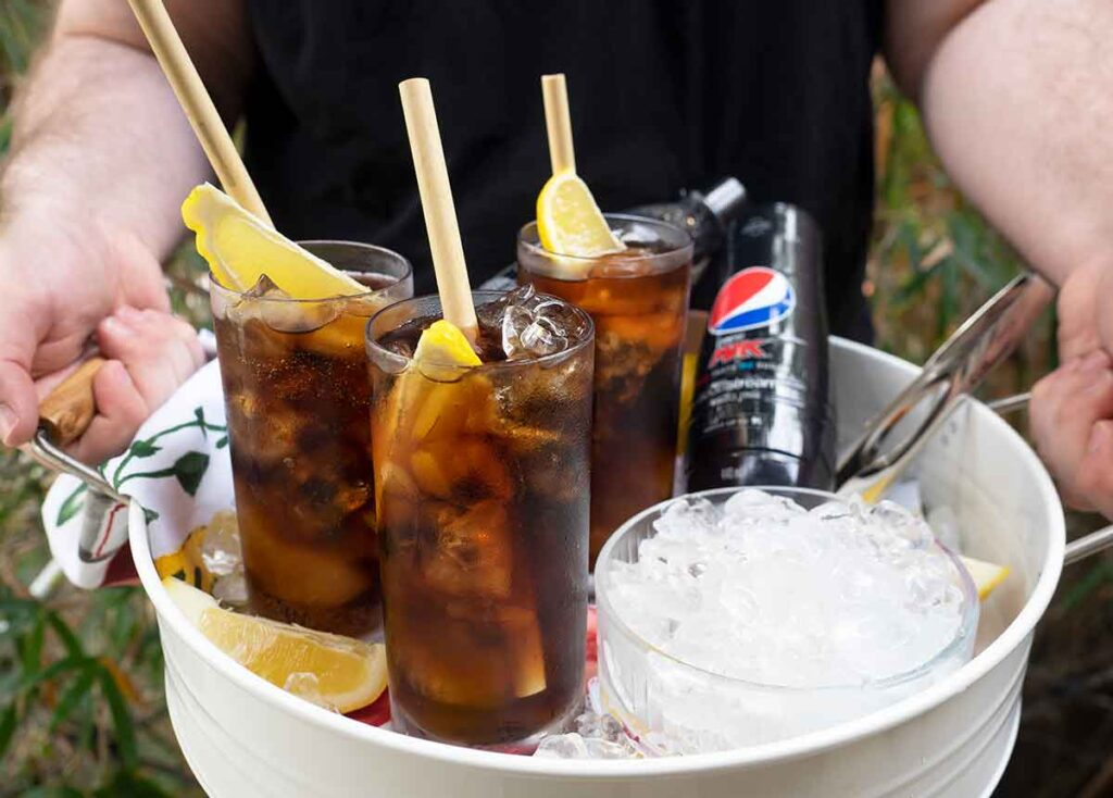 tray of sodastream pepsi drinks and ice