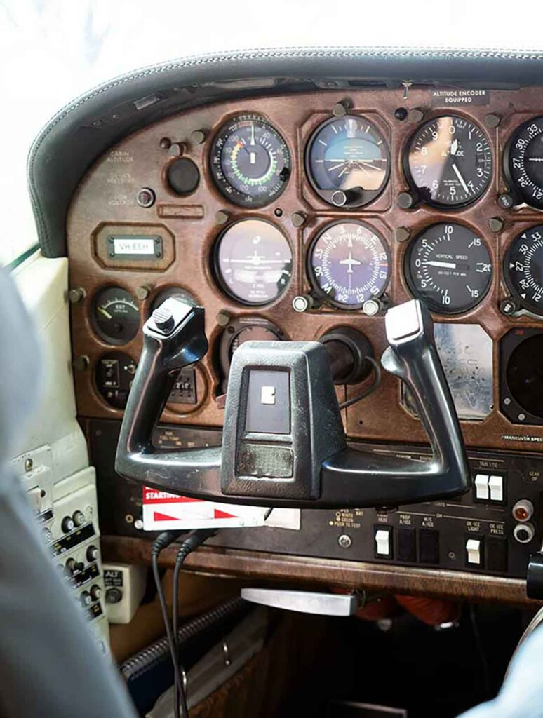 controls in a cockpit