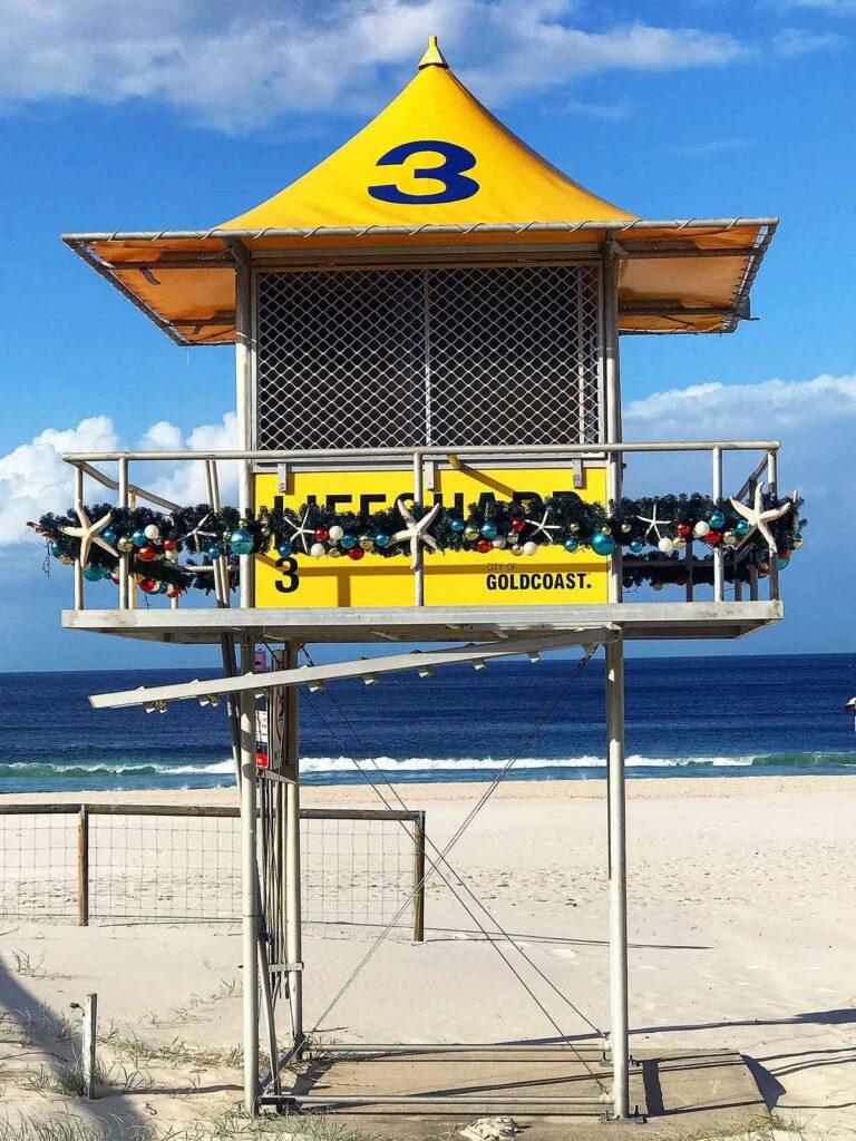 surf lifesaving hut on the beach