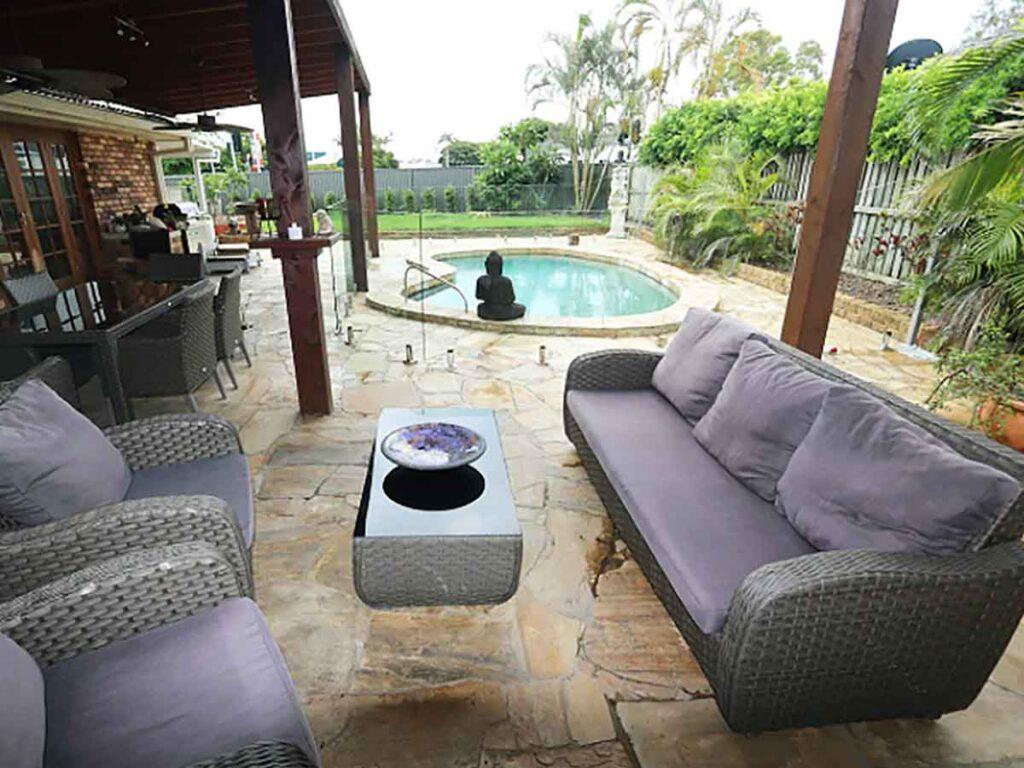 purple lounge and pool