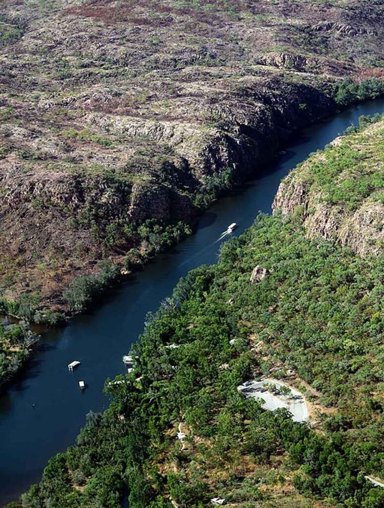 tour boats on the river in Katherine Gorge view from a plane