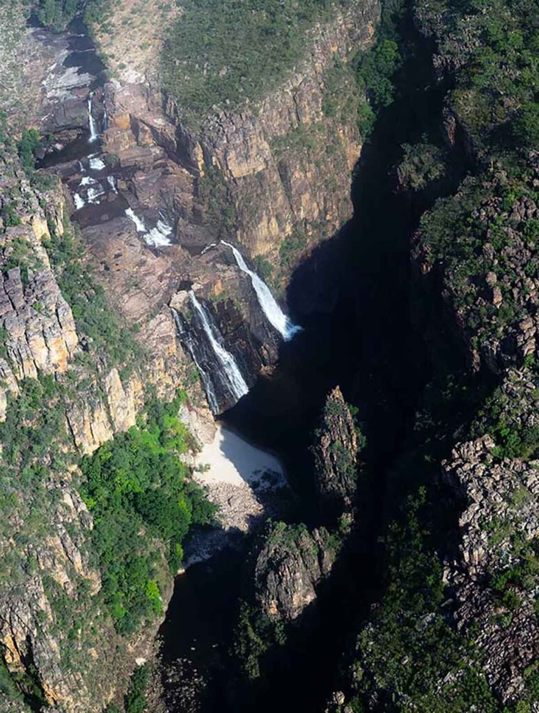 waterfall view from the air