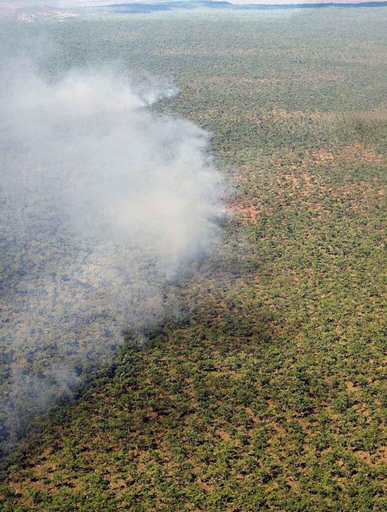 smoke rolling across Nitmiluk National Park