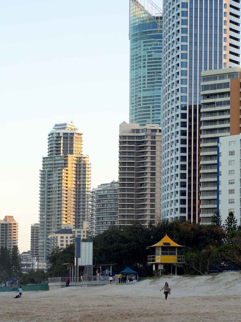 high rise buildings along the beach
