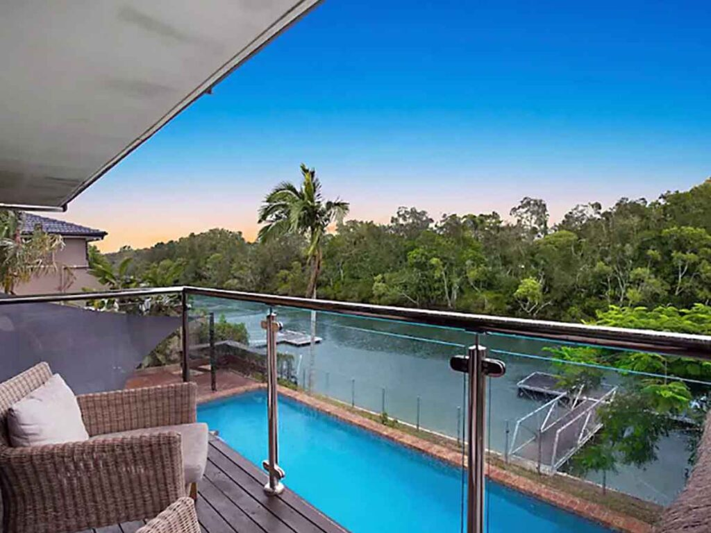 looking out over the pool at rivercove braodbeach a gold coast airbnbs