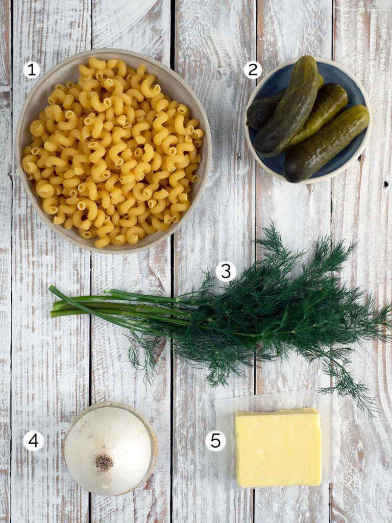 dill pickle pasta salad recipe ingredients