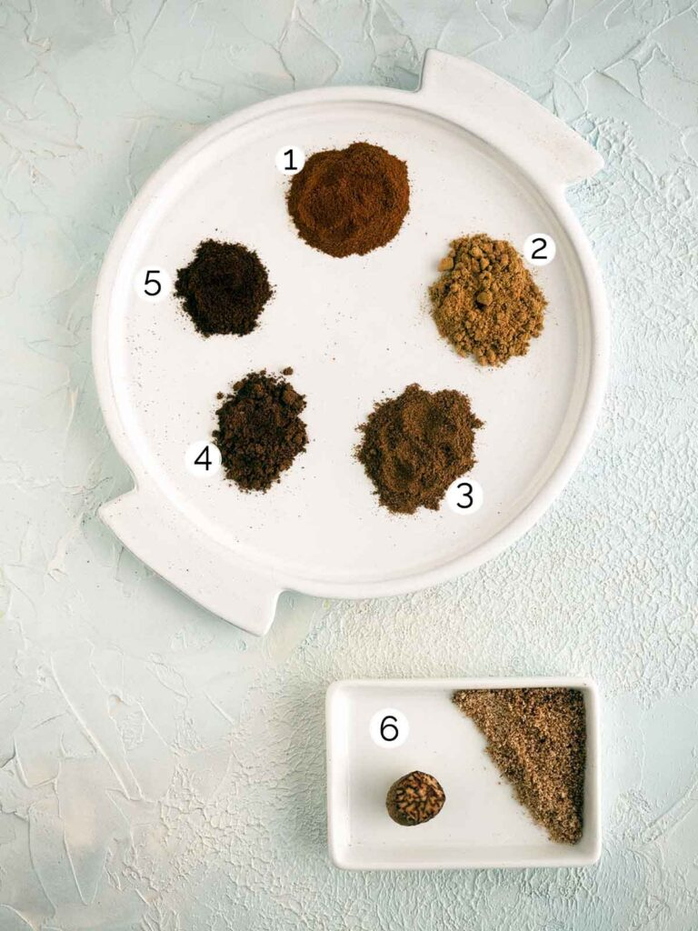 spices used in pumpkin pie spice mix on a plate