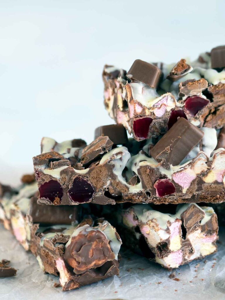 tim tam rocky road piled on top of each other
