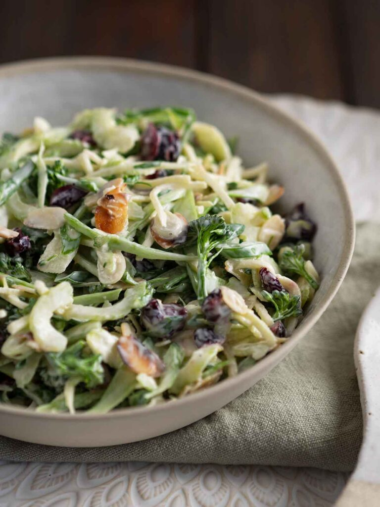 broccolini slaw in a serving bowl