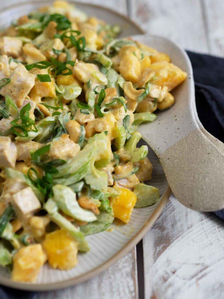 serving curry mango turkey salad