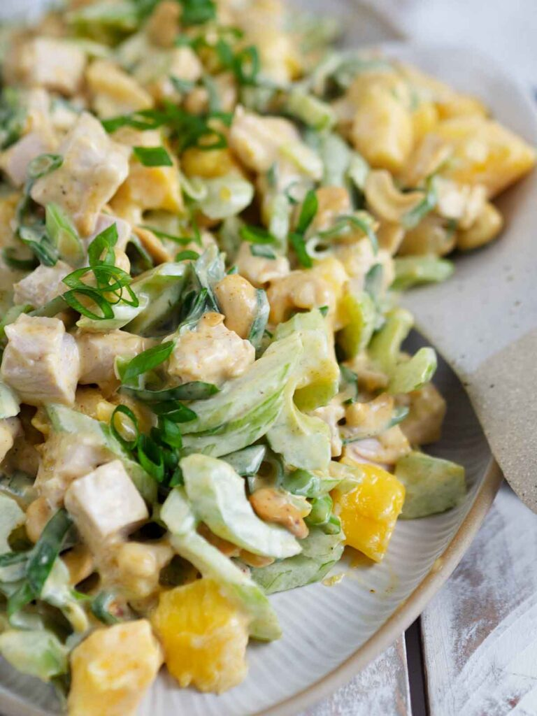 close up of curry mango turkey salad