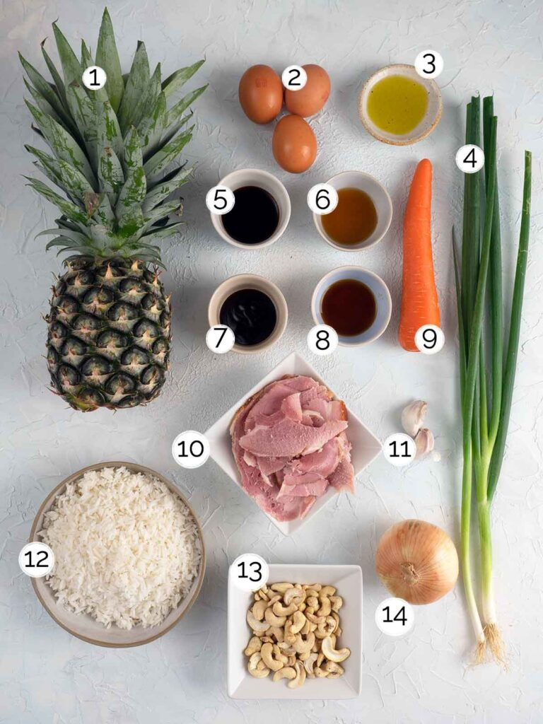 ham and pineapple fried rice ingredients