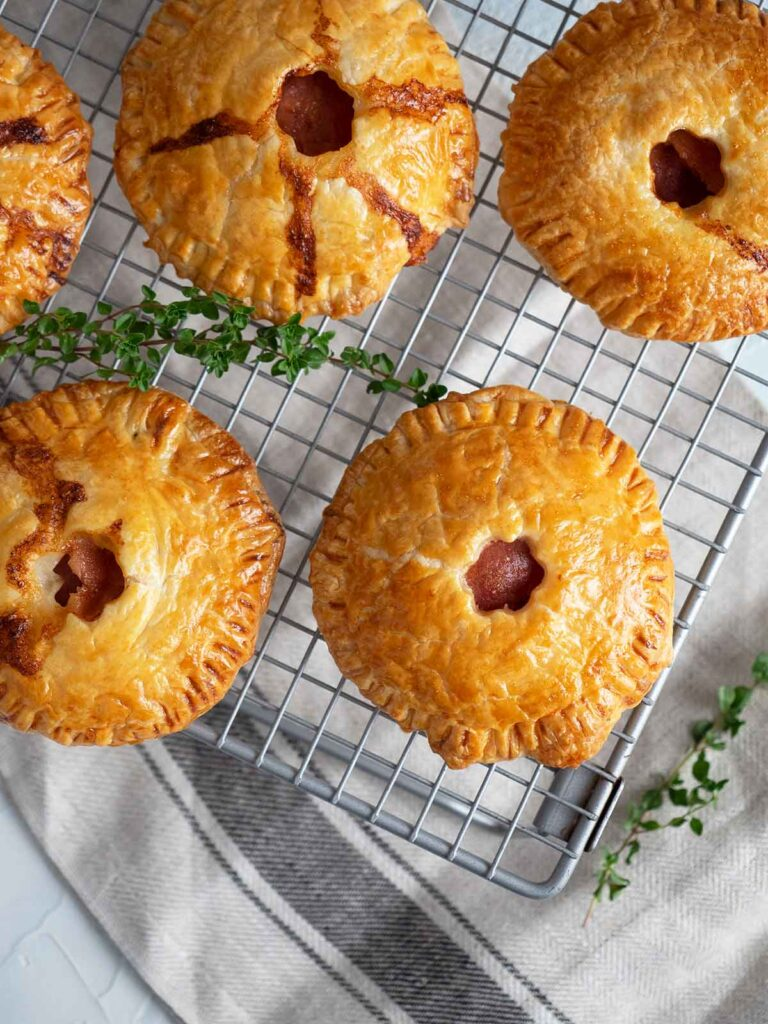 baked ham pies on cooling rack