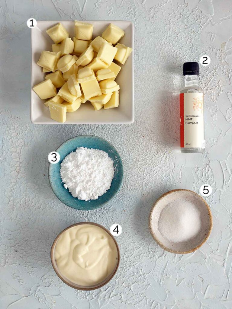 white chocolate mint truffle ingredients