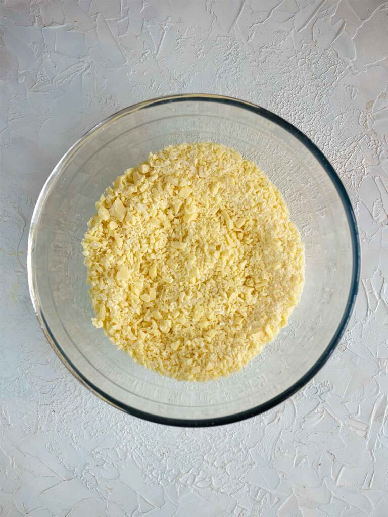 process image of finely chopped white chocolate in a bowl
