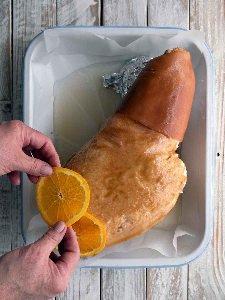 decorating with orange slices