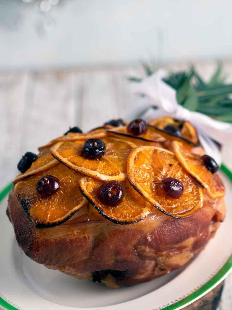 old fashioned glazed ham on serving platter