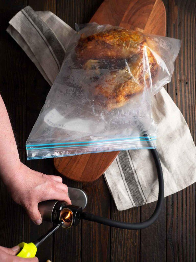 smoking turkey inside a zip lock bag