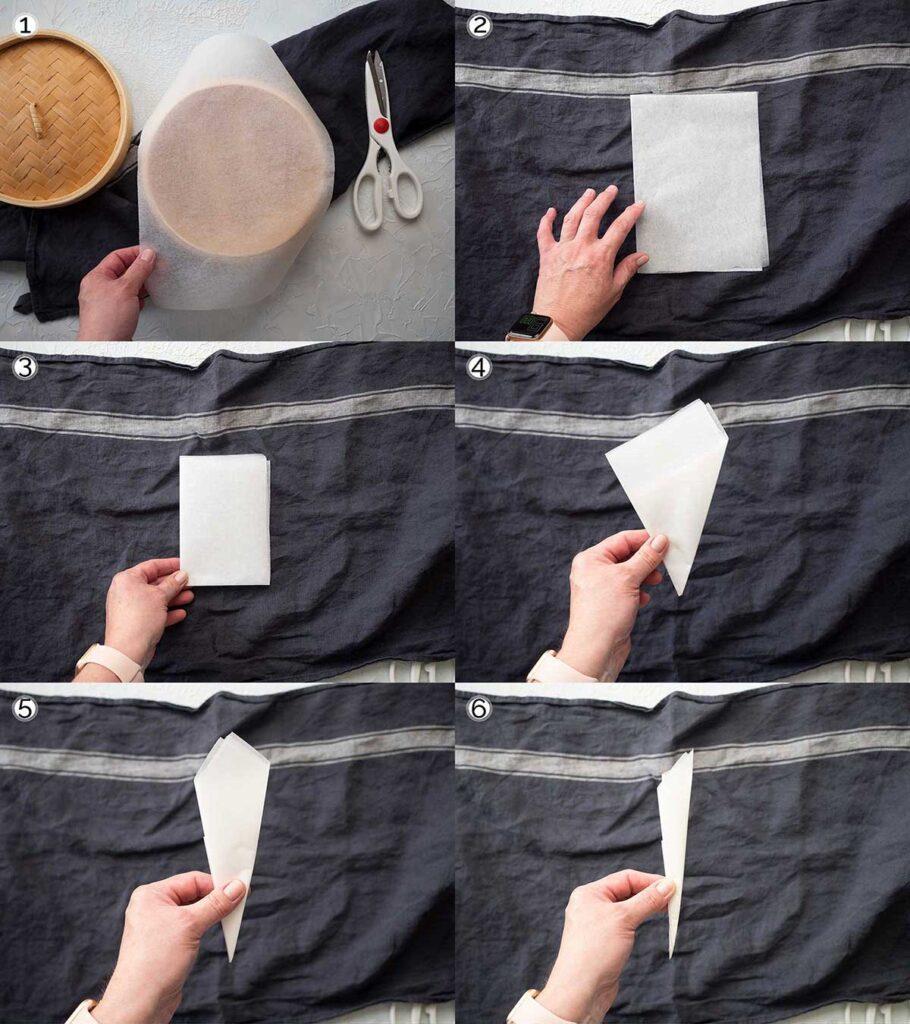 folding paper to create a steamer basket liner