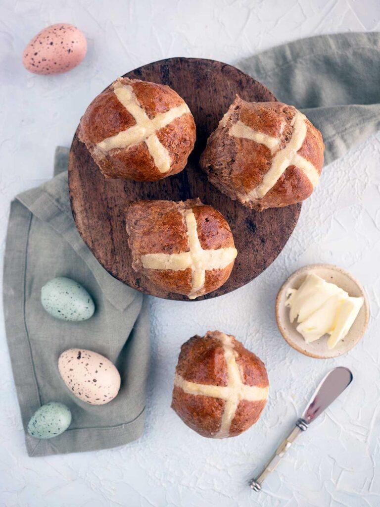 top view of fruitless hot cross buns