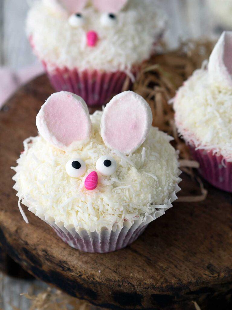 close up of a bunny cupcake