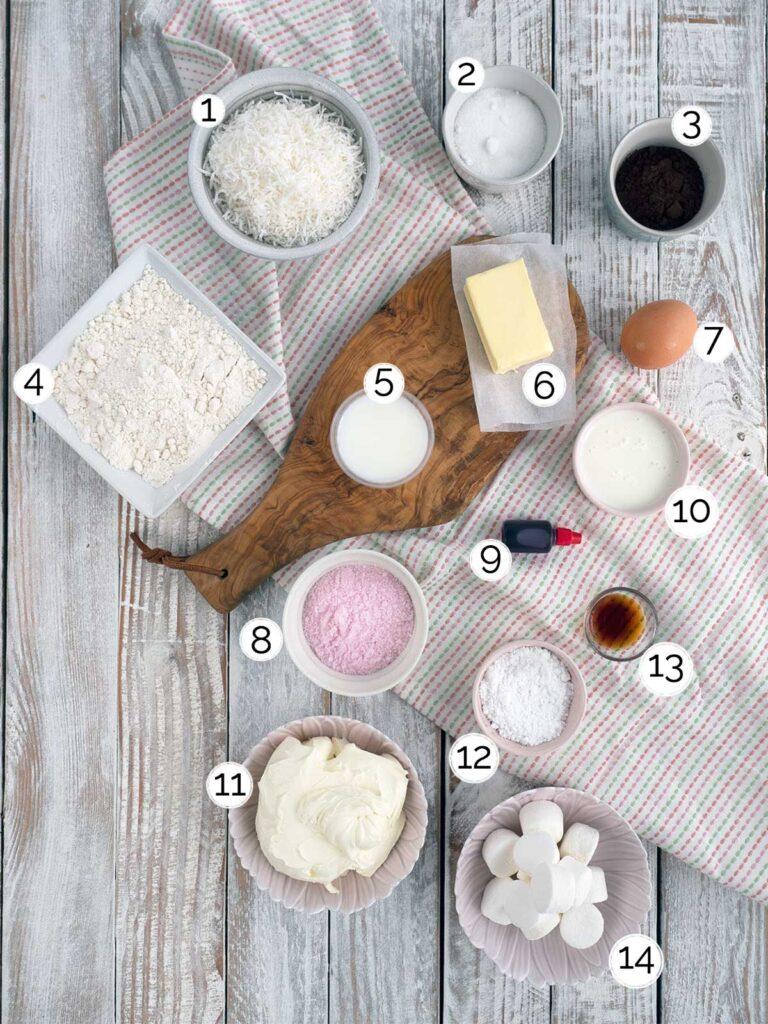 Easter bunny cupcake ingredients