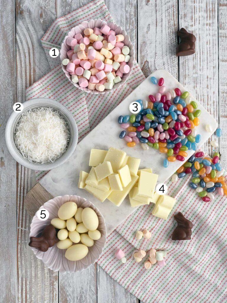 Easter rocky road ingredients