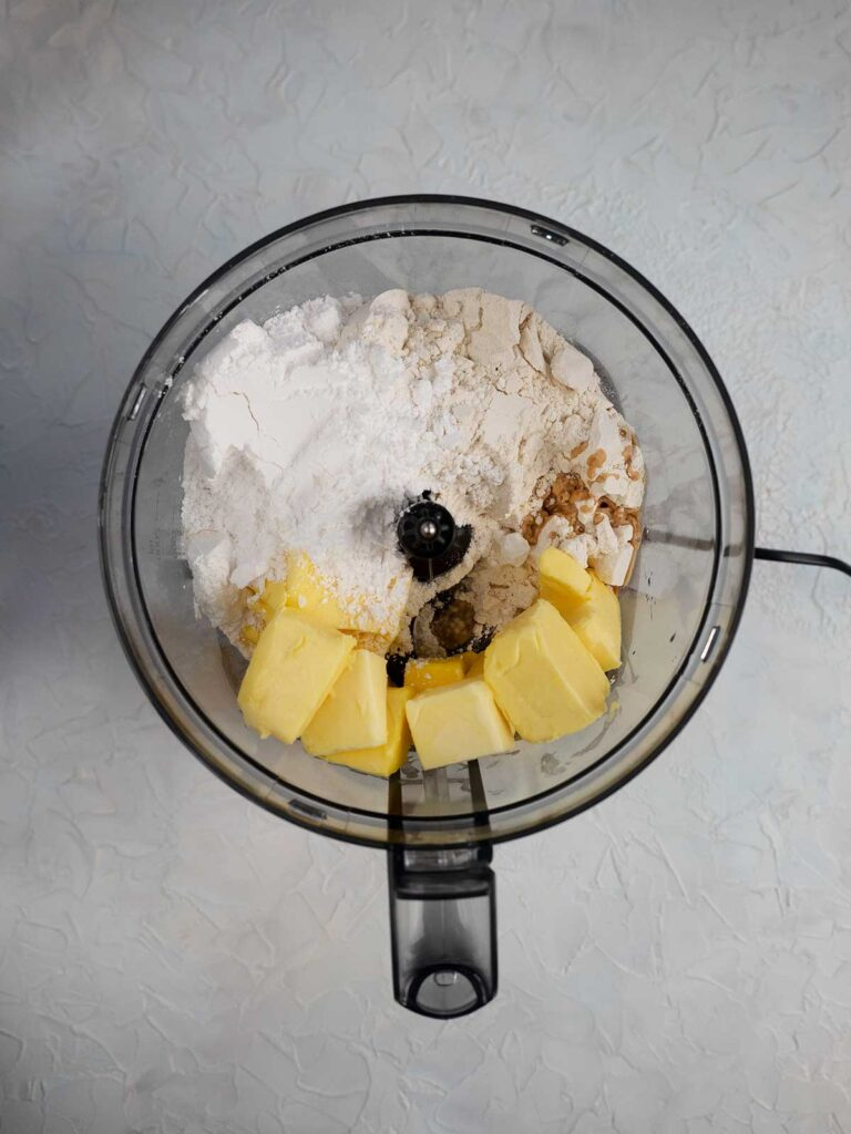 cookie dough ingredients in a food processor