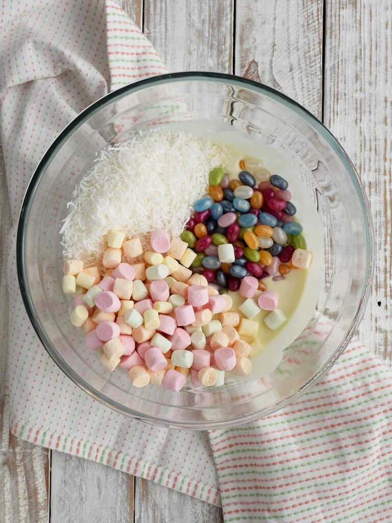 all ingredients in a large glass bowl ready for mixing