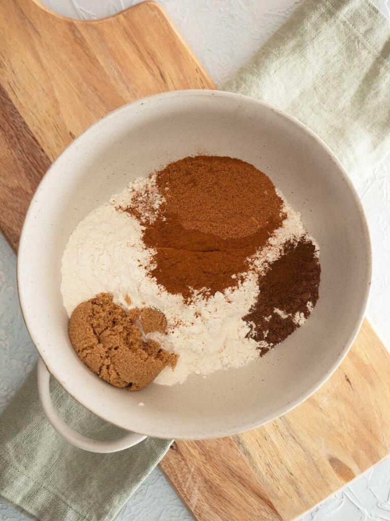 dry bun ingredients in a bowl