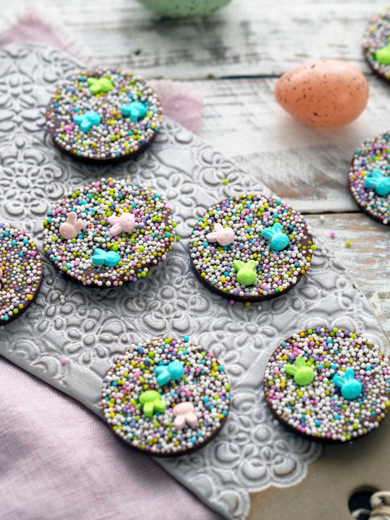 Easter chocolate freckles on a ceramic tray