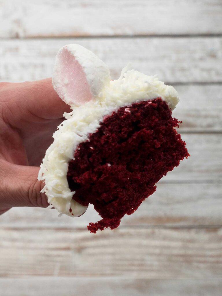 bunny cupcake cut in half showing the cake crumb