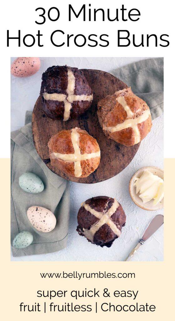 quick hot cross buns pinterest pin