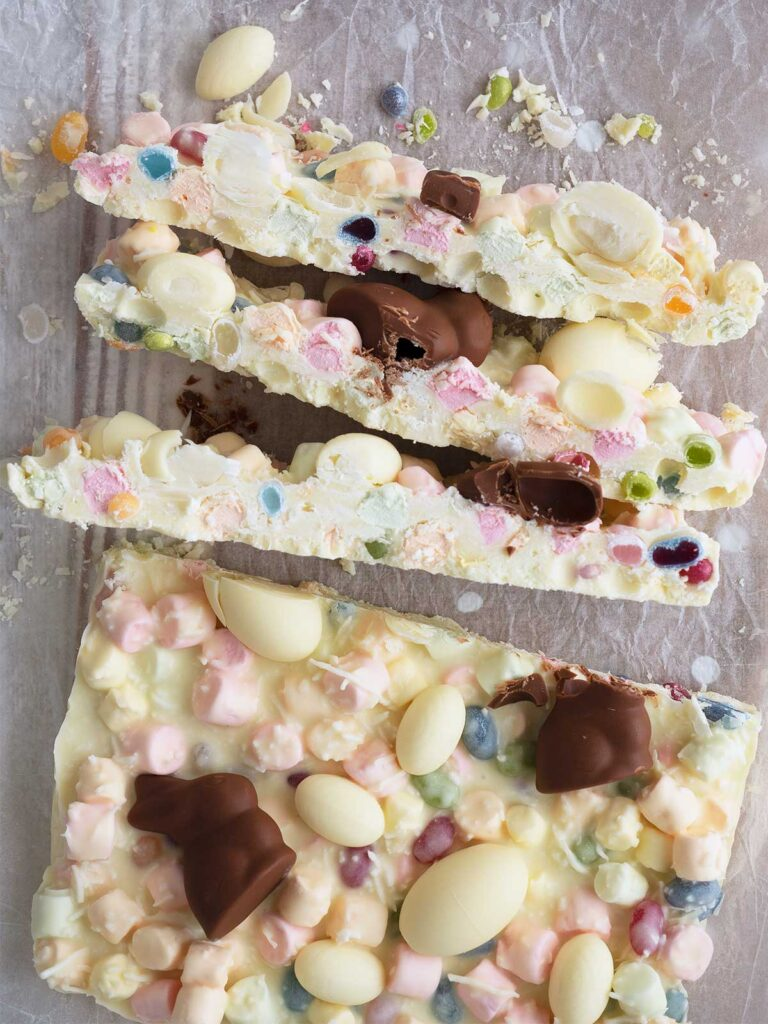 large pieces cut from the slab of Easter rocky road showing the cross section