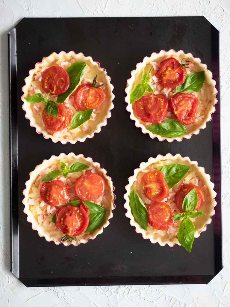 tomatoes basil in tart shells