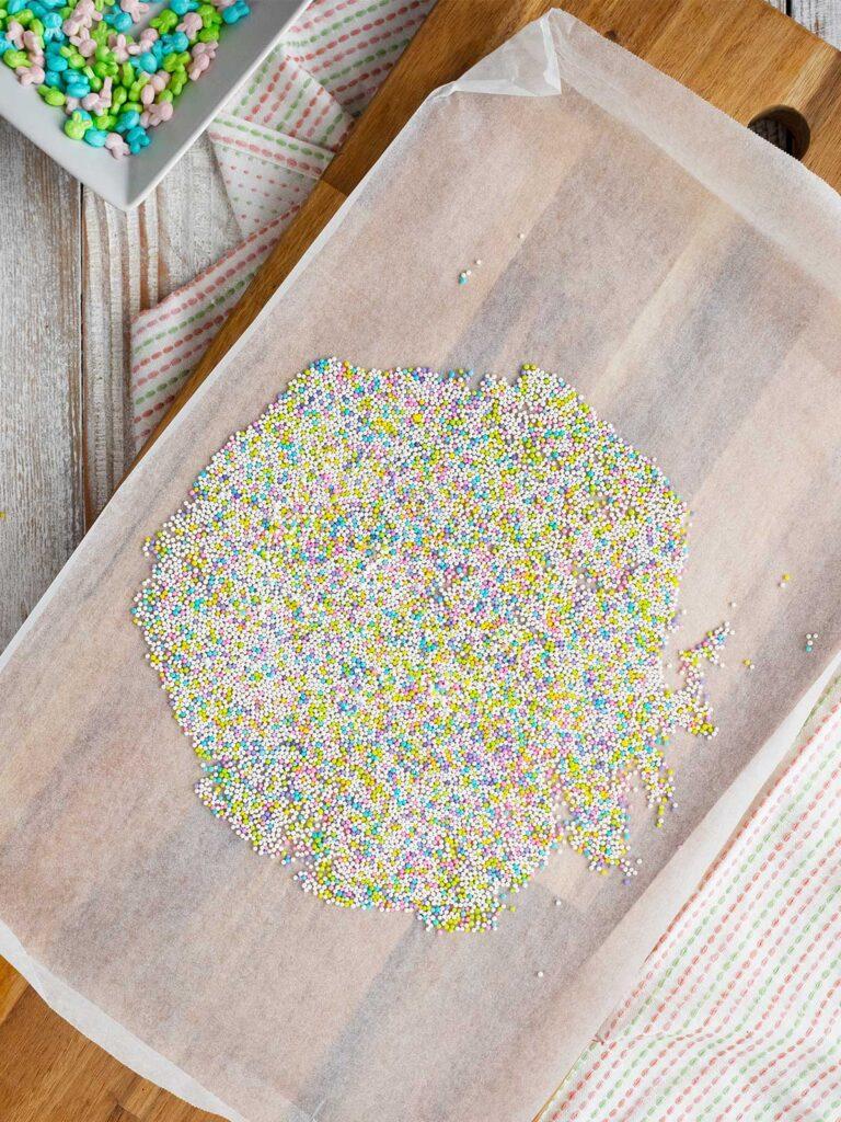 nonpareils on baking paper