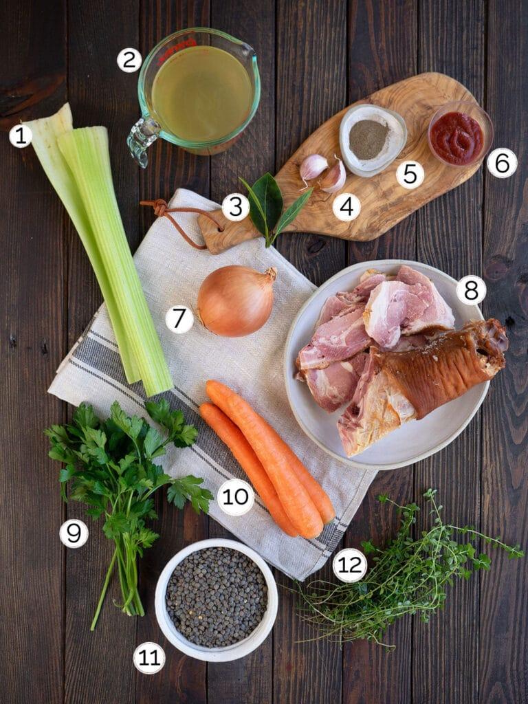 ham and lentil soup ingredients