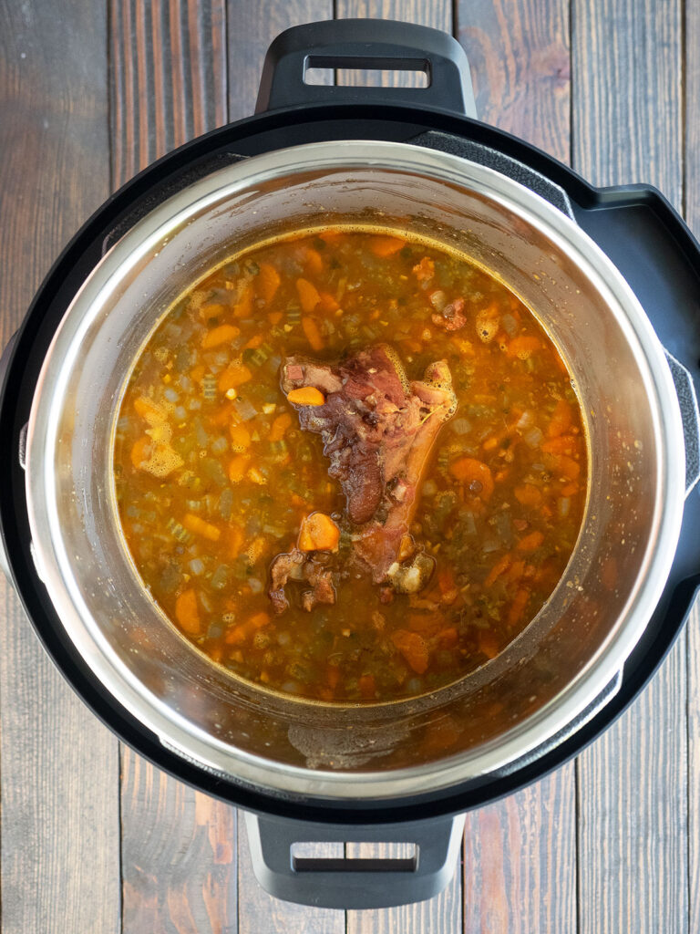 cooked ham and lentil soup in an instant pot