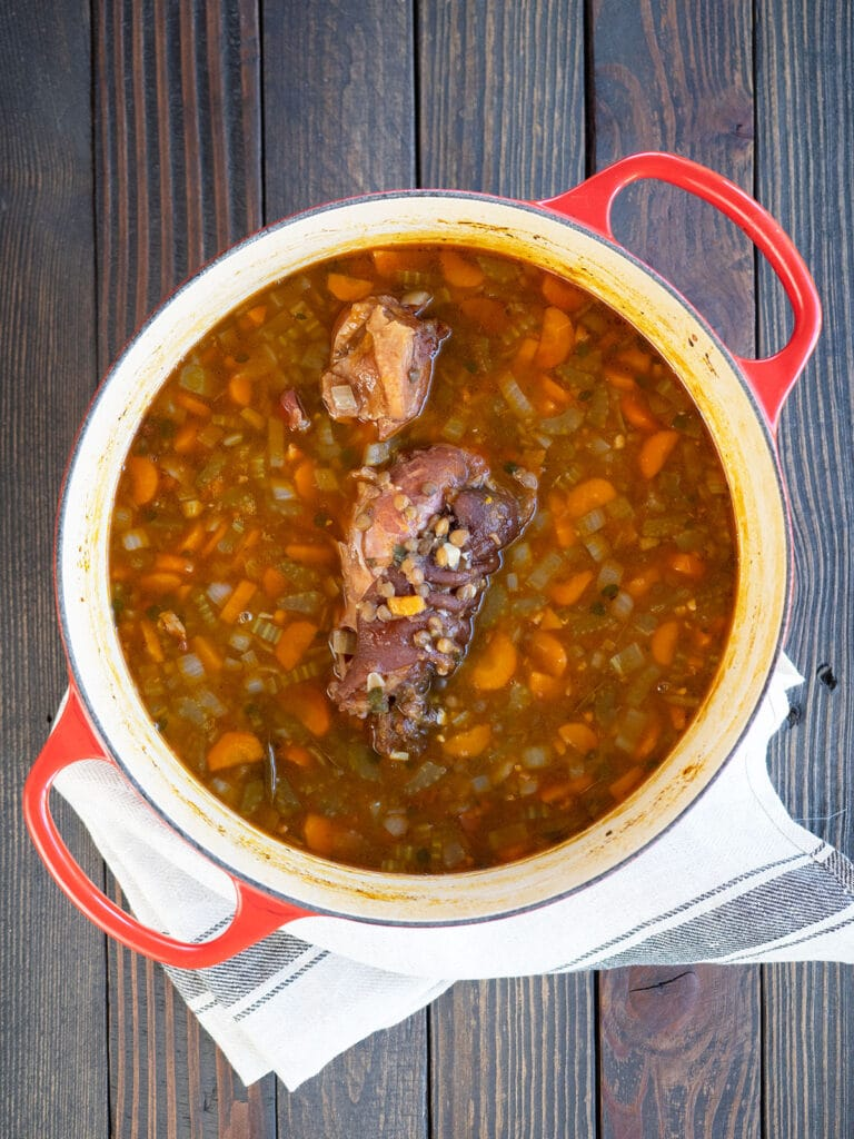 cooked soup in a dutch oven