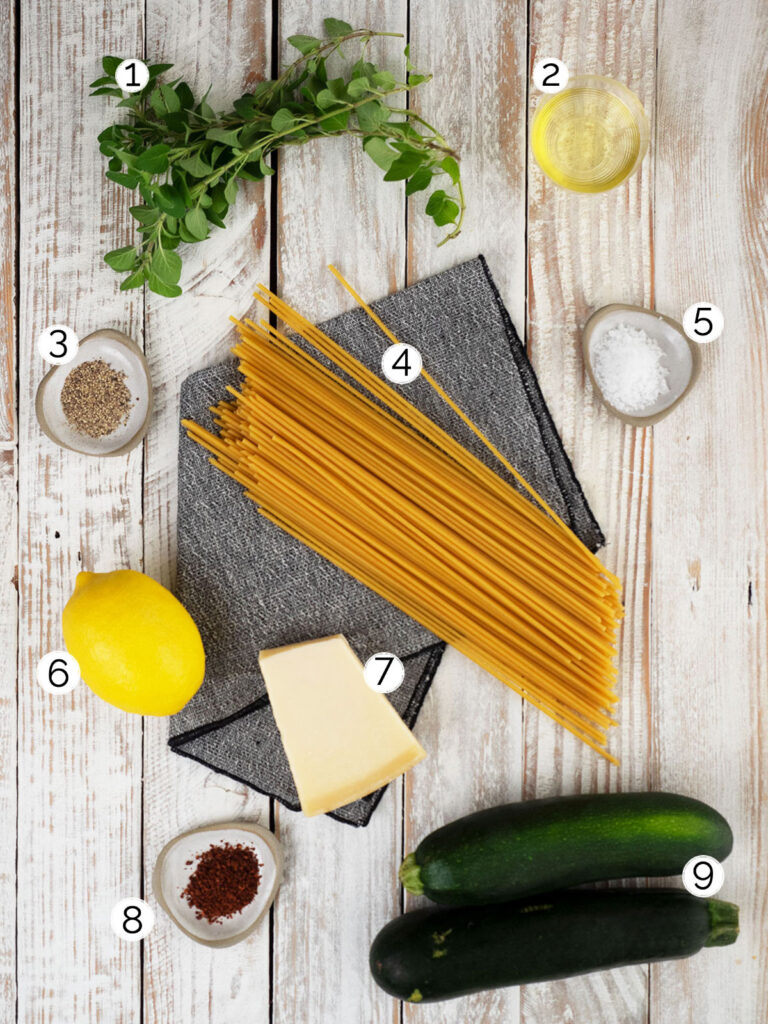 zucchini pasta sauce with bucatini ingredients