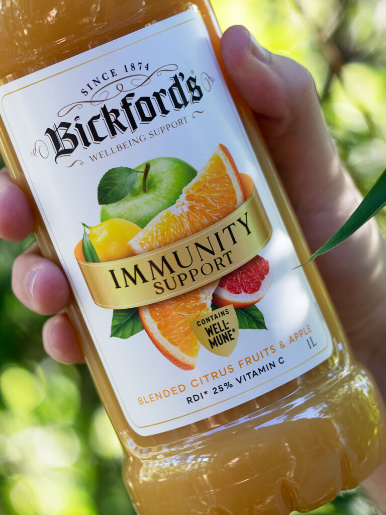 front label of Bickford's immunity juice with Wellmune