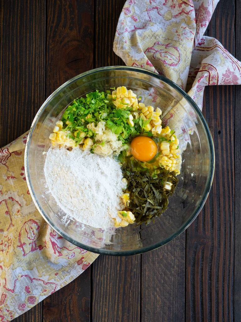corn fritter ingredients in a bowl