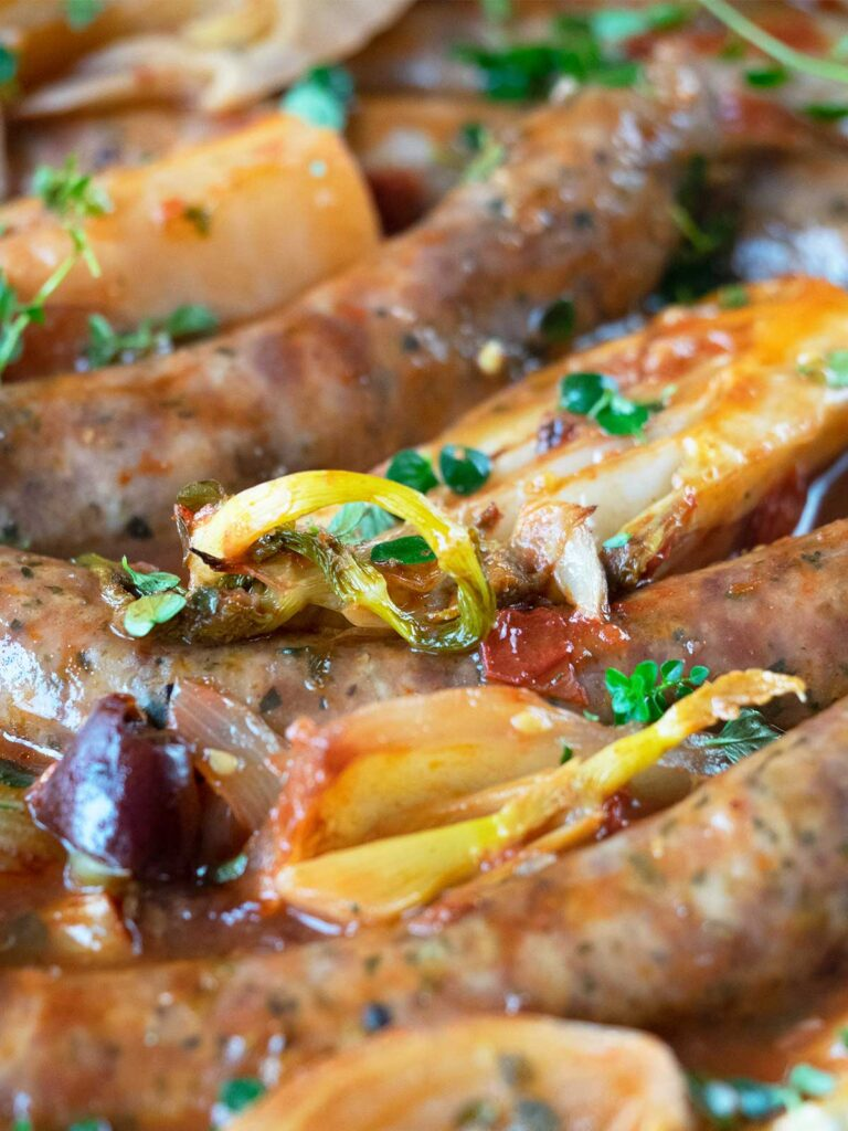 close up of baked Italian sausages