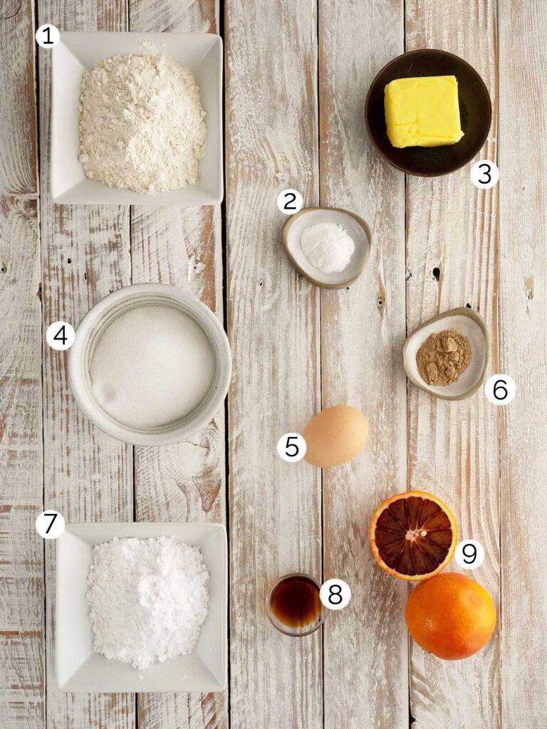 ingredients for blood orange cardamom cookies