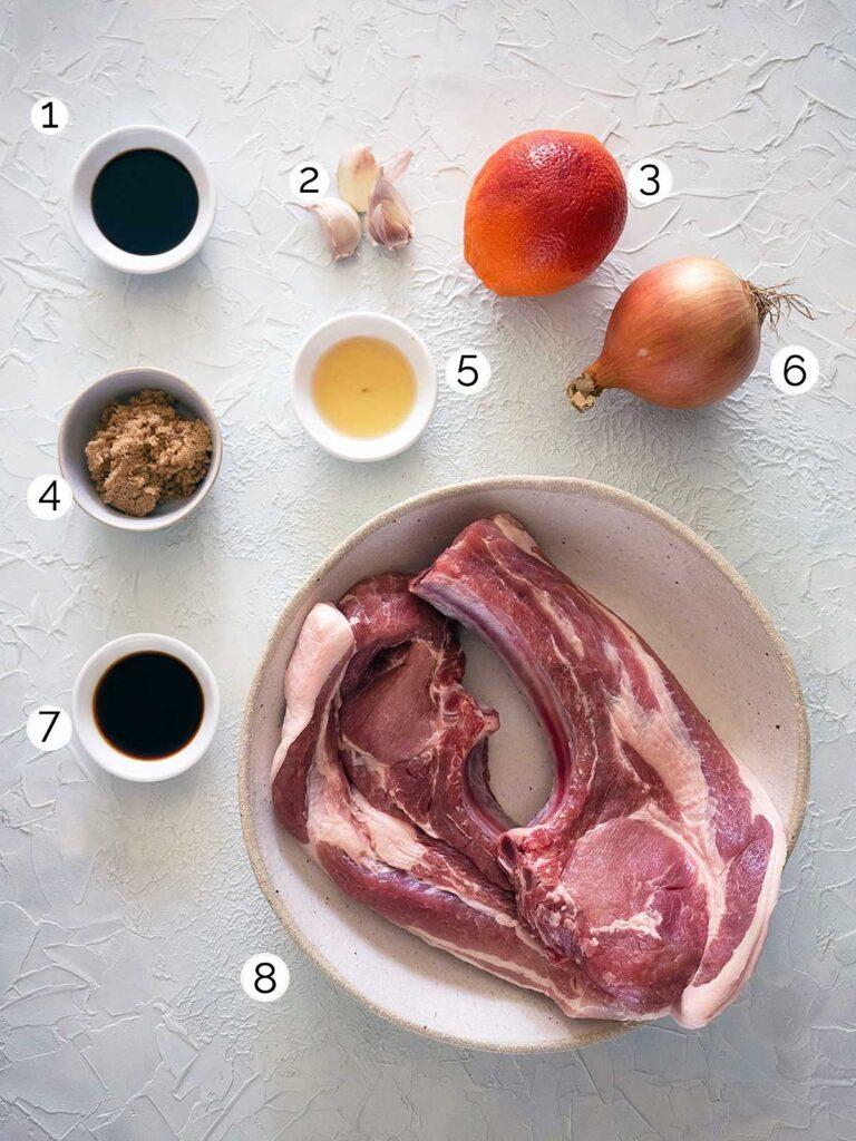 sticky pork chops ingredients
