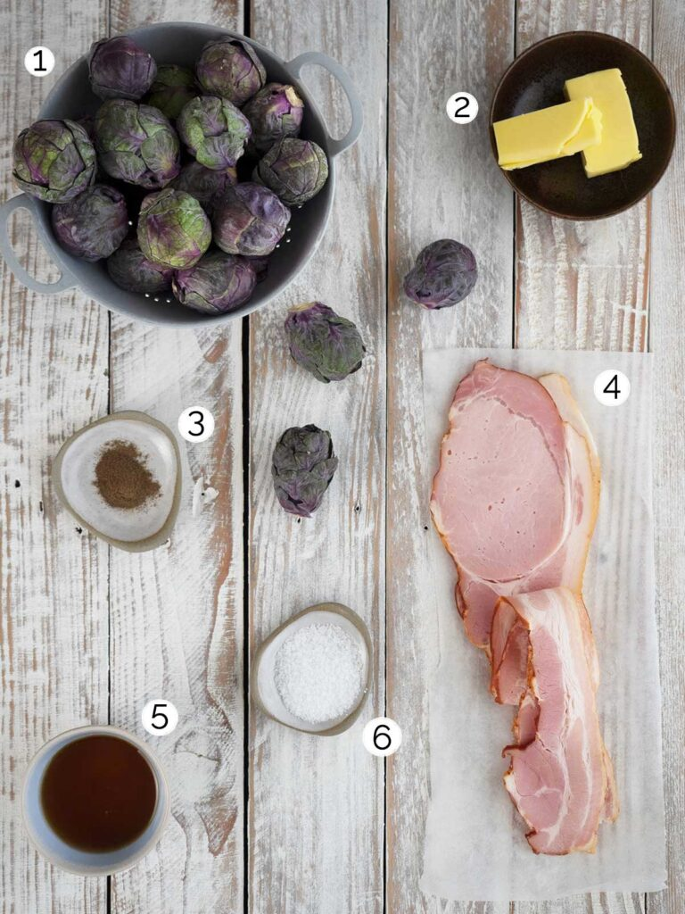 ingredients for maple bacon brussels sprouts recipe