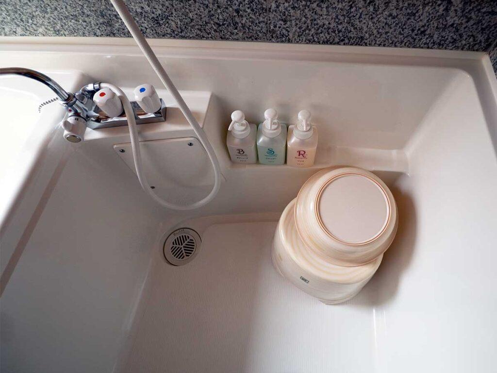 hand held shower and amenities